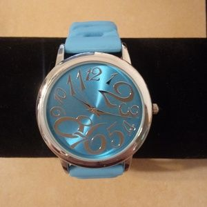 Accessories - Blue Large Numbers Jelly Stretch Band Watch